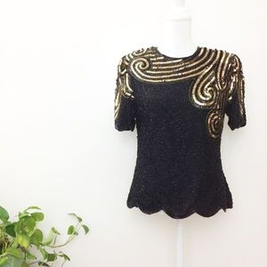 NWT Stenay Vintage 80s Silk Embellished Blouse